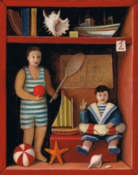 miniature with two antique dolls and beach toys in a beach cabin