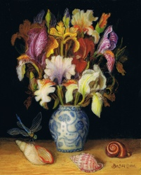 miniature painting with sea shells and iris bouquet in chinese porcelain vase