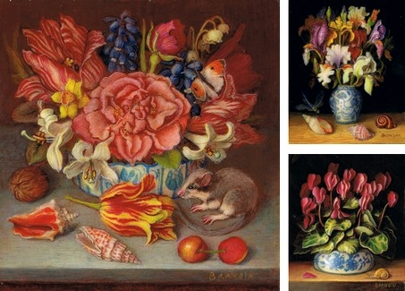 miniature paintings of bouquets, still lifes with flowers