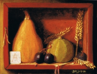 Miniature still life with gourds, grape and wheat corn