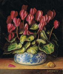 Cyclamens in a porcelain vase