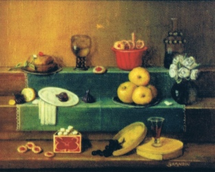 Still life with dessert: cakes, fruits and wine