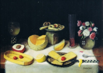 Table with strawberries, melon, cakes on a tin plate and a bouquet of roses in a vase