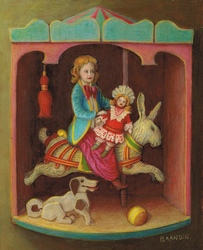Girl with a doll, sitting on a wooden rabbit in a carousel