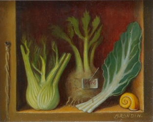"Sill life in the ""bodegon"" style, with fennel, celery, chard leaf and a snail."