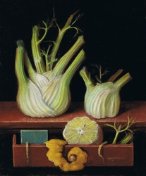 Miniature painting: still life with fennels and lemon fruit in a drawer