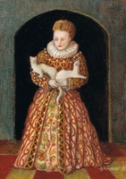 Miniature painting: full length portrait of a girl in spanish farthingale with ermines