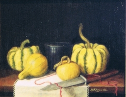 Still life with colocynth ( gourd ), a blue glass and a knife