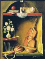 Miniature still life with musical instruments