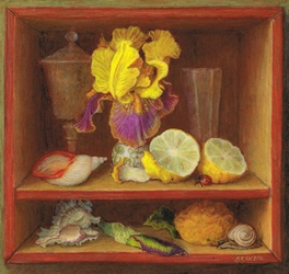 Still life with iris flower and lemons
