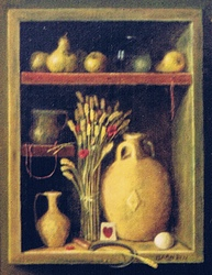 Still life of a wall niche with a clay pot, a sickle, wheat heads and a sickle