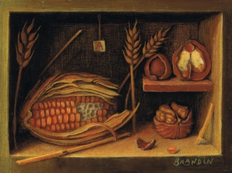 Still life with corn cob, wheat and walnuts