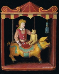Antique doll with teddy bear riding a merry-go-round pig