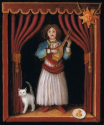 Miniature painting of an antique musician doll with a white cat