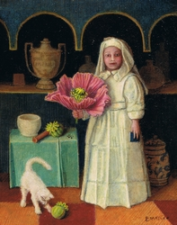 miniature portrait of an apothecary holding a giant poppy flower