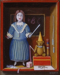 School teacher doll and teddy bear with as a dunce hat
