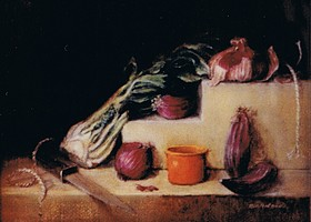 Still life bodegon style with shallots, fennel and a knife