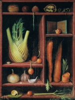 Shelf with vegetable: fennel, onions, garlic, carrot, walnuts and a snail