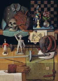 Still life with spades, miniature napoleonian soldiers, chess board and skull