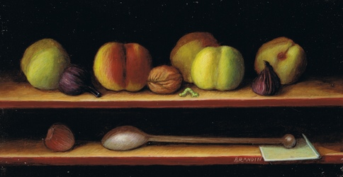 Miniature still llife with peaches and a spoon