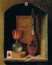 Miniature painting of a wall niche with with a tulip in a glass vase, musical instrument and heart patterns