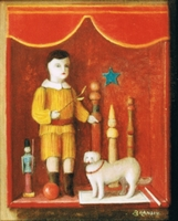 Wooden antique toys still life: bowling pins, doll, wooden soldier and white dog